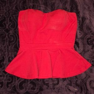Red, strapless top